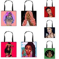 Afro Meninas Ombro Saco dos desenhos animados impresso Bolsa Totes Mulheres Bandoleira Sacos Grande Compras Dobrado sacola Outdoor Designer Bolsas F102602