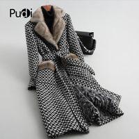 Женский меховой меховой из искусственных женщин Pudi женщин натуральный воротник пальто куртка женские овцы баранины вкладышевые пальто длинные Parka A59051