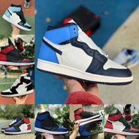 Nova alta alta 1 1s sapatos de basquete homens mulheres criadas dedo do pé preto jogo verde Royal Unc patente tribunal roxo obsidiano fragmento banido torcer sapato de esportes