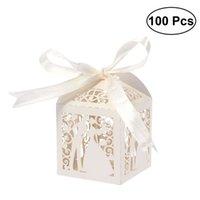 100 stks paar ontwerp luxe lase gesneden bruiloft snoepjes snoep gift gunst dozen met lint tafel decoraties (romige beige) T200115