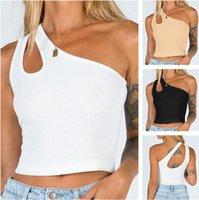 Vendita calda Summer2021 New Women's Slant Spalla Breve Open Oce Bannello Top Solid Colore Moda Tight Sexy One Spalla Scava fuori maglia gilet