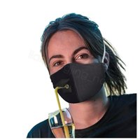 Solid Outdoor Mask Adjustable Cotton Drinking Adult Dustproo...