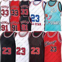 Chicagos MJ جيرسي ريترو 91 دينيس رودمان الفانيلة 33 سكوتي بيبين جيرسي خمر كرة السلة نورث كارولينا تار كعب دريم فريق جيرسي