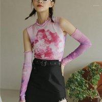 Camiseta para mujer Pink Tie Dye Malla de malla Top Top con cuello con cuello impreso Tshirt Tshirt Sin mangas T Shirt Women Summer Designer TEE FEMME P3801