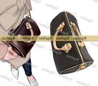 Cuero genuino del envío de la lona del hombro de Boston del bolso de las mujeres bolsos Almohada Nano Crossbody Con correa de 40390 40391 40392