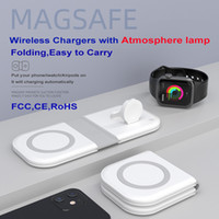 2 em 1 15w carregador sem fio Magsafe Magsafe com lâmpada para iPhone 12 iPhone13 Mini Pro Max Telefones móveis Iwatch Qi Device