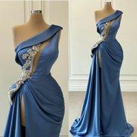 Blue Mermaid Abiti Prom una spalla High Side Split raso perline arabo da sera sexy delle donne Robes Personalizza Dress partito formale