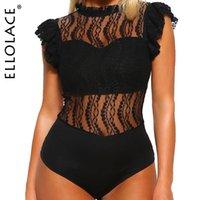 Ellolace Sexy Body Dentelle Black Body Body Femmes Ruffle Sans Manches Transparent Balustral Basicals Basics Voir à travers 2020 NOUVEAUX ROMPERS T200528