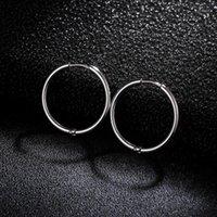 Pendientes de aro de acero inoxidable de color plateado de moda Pendientes de bucle redondo pequeño para hombres Mujeres criollos Huggie Circle Hoops 16/20 / 24mm1