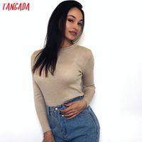 Tangada женщины свитер с длинным рукавом джемпер осень зима мода пуловер блестящие свитеры 2019 корейский стиль трикотажного одеяния Thing Femme ARX Y200722