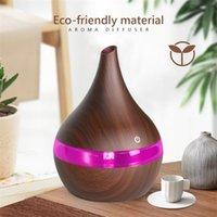 USB ätherisches Öl Diffusor Kühle Holzkornluftbefeuchter Essential 7LED Ultraschall Mini Nebelhersteller LED Light Aroma Aromatherapie 201009