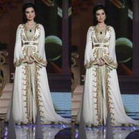 Marokkanische Kaftan Kaftan Dubai Abaya Arabisch lange Hülsen-Abend-Kleider Erstaunliche Goldstickerei V-Ausschnitt Anlässe Prom Formal Gown