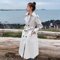 패션 새로운 이중 가슴 여성 트렌치 코트 긴 벨트 슬림 레이디 더스트 코트 망토 여성용 겉옷 봄 가을 의류 1