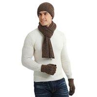 تعيين 100٪ الاكريليك الأسود رمادي الرجال في فصل الشتاء قبعة وشاح قفازات محبوك سميك دافئ الرقبة والأوشحة قبعات للذكر