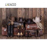 Materiale di sfondo Laeacco West Cowboy Hat USA Valigia Bordo in legno Bambino Scenico Pografico Pografia Pografia Pografia Backdrops per PO Studio1