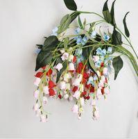 Simulação sino orquídea sala de estar decoração hall flor de flor de flores de casamento decoração de teto falsa flor sino