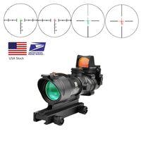 Trijicon acog 4x32 real fibra óptica rojo punto iluminado chevron vidrio grabado retícula táctico óptico alcance caza óptica vista óptica
