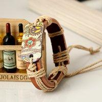ロープ織り卸売レザーピースパイログラフィサイン中国風編組チャームブレスレット男性女性
