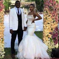 섹시한 Strapless 민소매 인어 웨딩 드레스 플러스 사이즈 아프리카 아랍어 신부 가운 2021 New Satin Bridal Gowns Vestidos de Novia