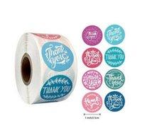 Colori rosa 500pcs / rotolo 10 stili di fiori cuore grazie adesivo adesivo scrapbooking handmade business packag sqcuuu new_dhbest