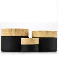 Bocons cosmétiques de pots de verre givrés noirs avec couvercles en plastique de bois PP LINER 5G 10G 15g 20g 30 50g Crème de baume à lèvres