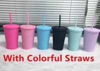 Atacado 16oz fosco tumblers acrílicos com tampas coloridas canudos coloridos Curto gordura de plástico esportes garrafas de água dupla wall copos A12