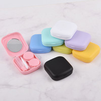 Casetta per lenti a contatto con specchio Donne mini quadrato Lovely Eyes Contact Lens Container Box Bag Kit da viaggio 1 Set