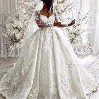 매력적인 전체 레이스 공 가운 웨딩 드레스 우아한 특종 깎아 지른 긴 소매 신부 가운 손 꽃 두바이 아랍 웨딩 드레스