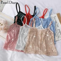 Perle Diary Femmes Sequins Spaghetti Top Style coréen Saisisss Brillant Sexy Crop Top Bling Bling Bling Partie Cami Crop Strappy1