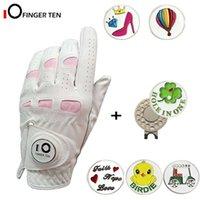 Женские перчатки для гольфа с шариковым маркером и шляпной клип левая правая рука мягкая кожа дополнительная версия для дам размеры S M L XL 201028