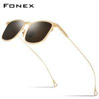 FONEX الصرفة التيتانيوم عدسة مكبرة رجال خمر ساحة الاستقطاب النظارات الشمسية المرأة 2020 جديد ريترو المتطابقة UV400 ظلال 8523