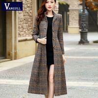 Vangull шерстяное пальто женщины высококачественные классические длинные шерстяные пальто новые шерстяные куртки траншеи зима верхняя одежда плед женщины пальто LJ201109
