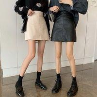 Werueruyu über Knie mini frauen pu faux leder röcke plus größe jupe femme faldas mujer 201109