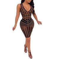 Элегантное сексуальное платье для женщин без рукавов V шеи Bodycon платье, бронзированные бриллиантовые вечеринки мини-платья дамы осень