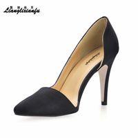 LLXF US11 12 Zapatos Mode Stiletto Mesdames pointues Toe Shoes Femme 9cm Talons minces Femme d'Orsay Pompes de mariage Drop expédition