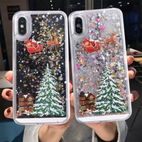 Neşeli Noel Telefon Kılıfı Shell iPhone 12 iPhone 11 Kılıflar SE 11PRO Max X XR XS Max 7 8 6 Dinamik Quicksand Glitter Arka Kapak