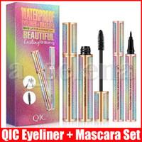 Eye liner Kiti Kalıcı QIC Göz Makyajı Seti 4D Elyaf Lash Maskara Likit Eyeliner Siyah Su geçirmez Yıldızlı Gökyüzü Maskara Hacim Kalın Kirpik Uzun