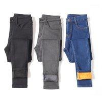 Jeans femininos 2021 inverno mulher quente cintura alta casual veludo senhoras calças femininas pantalon denim skinny lápis calças plus size1