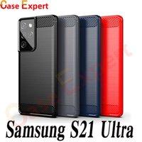 Karbon Fiber Fırçalı Doku Telefon Kılıfları Samsung S21 Ultra Not 20 A02S A12 A32 A42 A52 A72 A31 A41 A51 A71