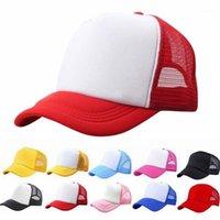 Gorras de bola sombrero de béisbol ajustable niño sólido casual remiendo sombreros para chicos chicas clásico camionero verano niños malla gorra sombrero de sol1