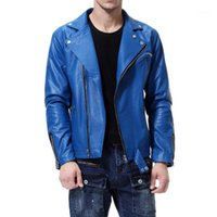 Herrenfell-Faux-Leder Herren für PU-Männer Mode Oberbekleidung Motorradjacke Casaco Masculino Casual Mantel Männlicher Reißverschluss Kleidung1