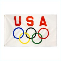 Custom Digital Print 3x5ft Free Drop shipping Canvas Header USA Olympics Rings International Game Flag Banner Indoor and Outdoor
