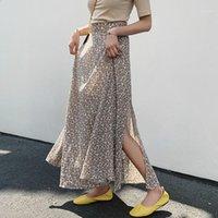 Yocalor Yaz Çiçek Baskı Şifon Etekler Yüksek Bel Yan Bölünmüş Etekler Kadınlar için 2020 Bahar Vintage A-Line Ile Lining1