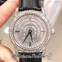 DMF Traditionnelle 82760 / 000G-9952 Miyota 9015 Diamonds Automatic Mens Watch completa pavimentadas Dial Black Leather Melhor Edição New Puretime PTVC A1