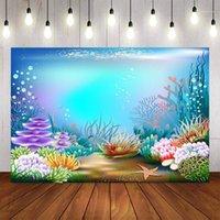 Fondo Material POGRAFÍA SUPERIOR TEMA MERMA SERMAIDE Fiesta de cumpleaños Bebé Ducha brillante Decoración de pescado Pocall Fondo PO STUDIO1