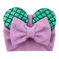 Big arco ampla haidband bonitos do bebê meninas acessórios de cabelo natal lantejoulas orelha de rato menina com alça 47 cores banda traje maquiagem HHB2450