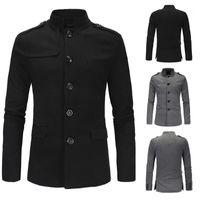 남성용 재킷 2021 브랜드 코트 남성 영국 스타일 봄과 가을 완두콩 싱글 브레스트 슬림 윈드 브레이커 2 colores1