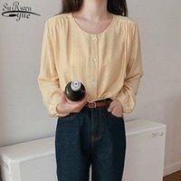 여성용 블라우스 셔츠 간단한 솔리드 컬러 야생 퍼프 긴 소매 셔츠 한국 달콤한 빛 노란색 블라우스 여성 사무실 레이디 탑 블루스 Mujer
