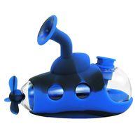 forme sous-marine Dab Rig Silicone Bong Les conduites d'eau en verre huile Rigs herbe barboteur Bongs silicone bol avec banger de quartz coloré