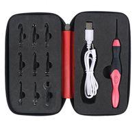 USB Carga LED Glow Grow Ganchillo con LED 9 Tamaños Ganchos Iluminación de emergencia Agujas de tejer Herramienta de costura de gancho superior reemplazable